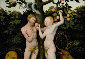 Лукас Кранах Старший (1472-1553). Адам и Ева (доска, масло). Германия, частная коллекция.